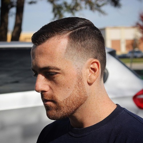 Short Taper Fade With Facial Hairstyle