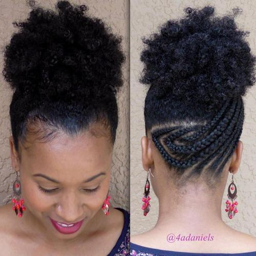 Afro Puff With Asymmetrical Braids