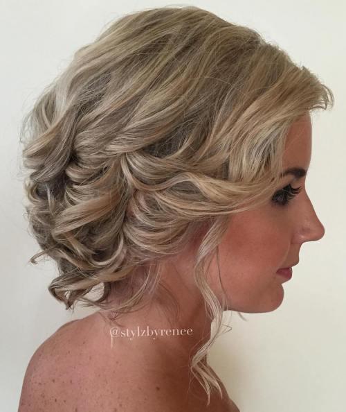Curly Wedding Updo For Shorter Hair