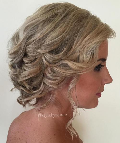 Curly Wedding Updo For Shorter Hair