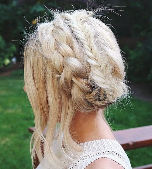 french braid and fishtail crown updo