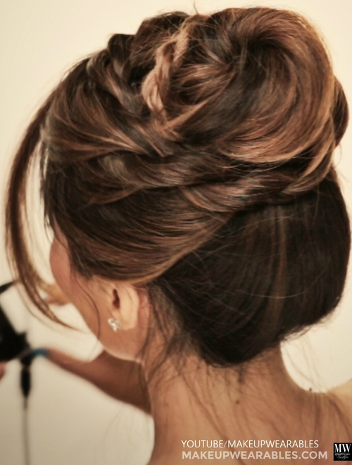 casual twisted updo for long hair