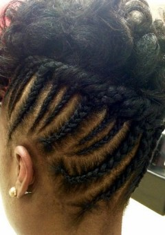 black updo with cornrows for shorter hair