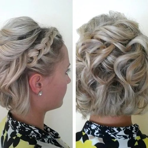 Short Messy Updo With Headband Braid