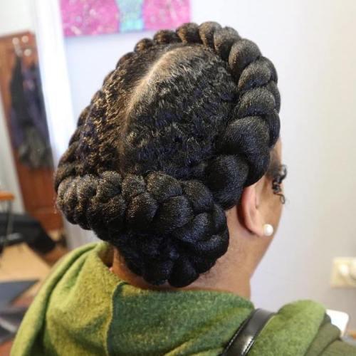 Halo Braid With A Bun For Natural Hair