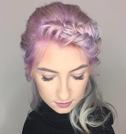 Pastel Purple Braided Hairstyle