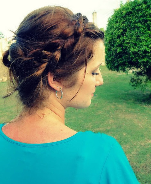 loose braided updo with bangs