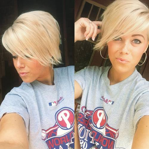 long blonde pixie with side-swept bangs