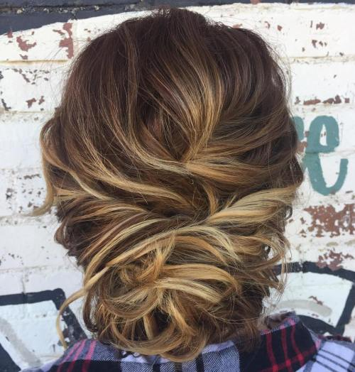 Messy Loose Updo For Hair With Highlights