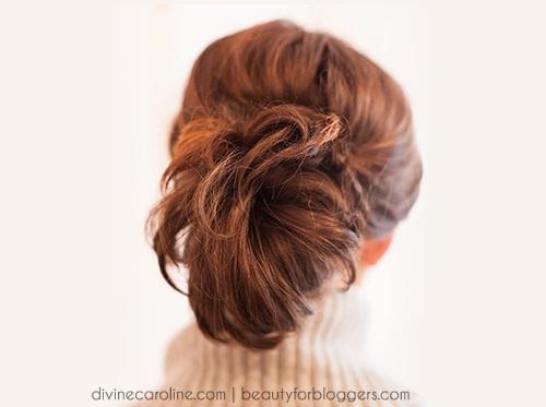 voluminous ponytail updo for shorter hair