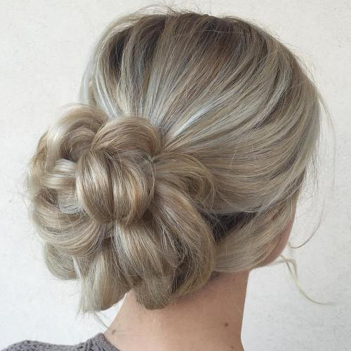40 updos for long hair easy and cute updos for 2017 flower bun updo pmusecretfo Choice Image