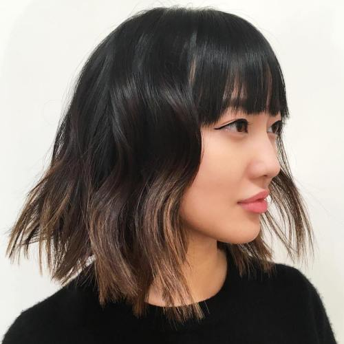 Messy Choppy Bob With Bangs