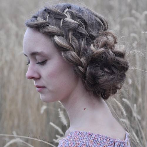 side messy bun with two french braids