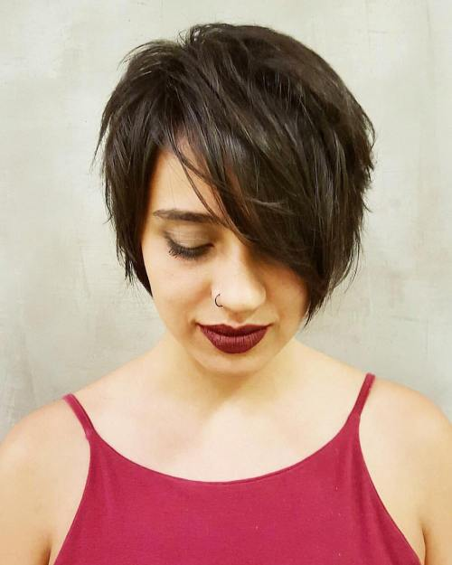 Brunette Layered Pixie Bob