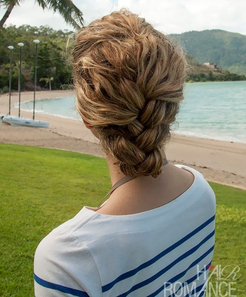 Easy braided updo for curly hair