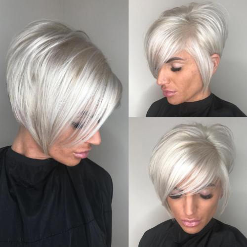 70 cute and easy to style short layered hairstyles - Bob silberblond ...