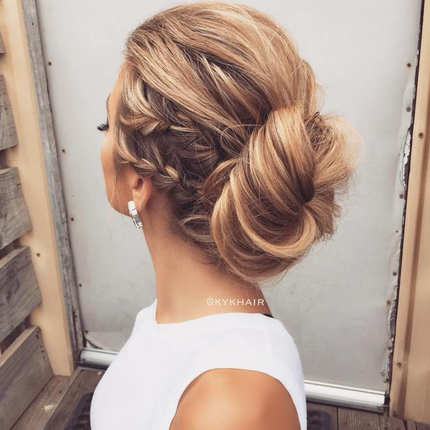 Loose Messy Bun With Side Braids