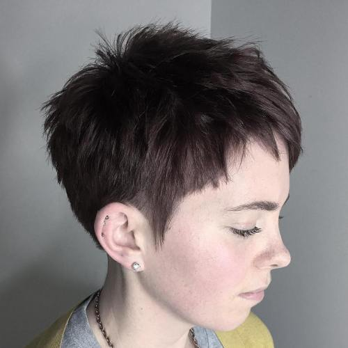 Short Choppy Brown Pixie