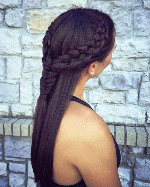 two braids half updo for long hair