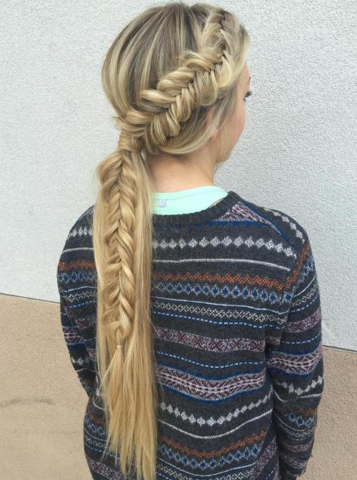Long Low Ponytail With Messy Fishtail