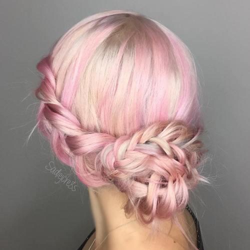 Pastel Pink Braided Updo
