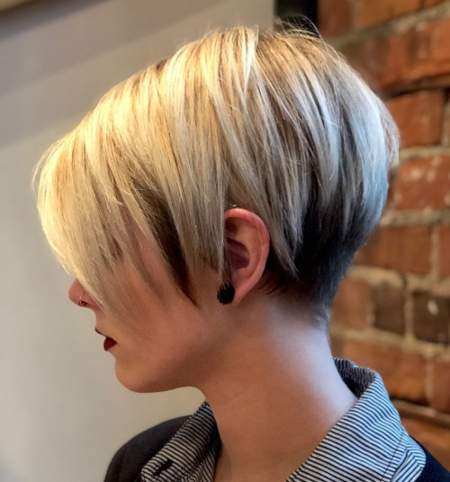 Short Layered Dark And Blonde Undercut Hair