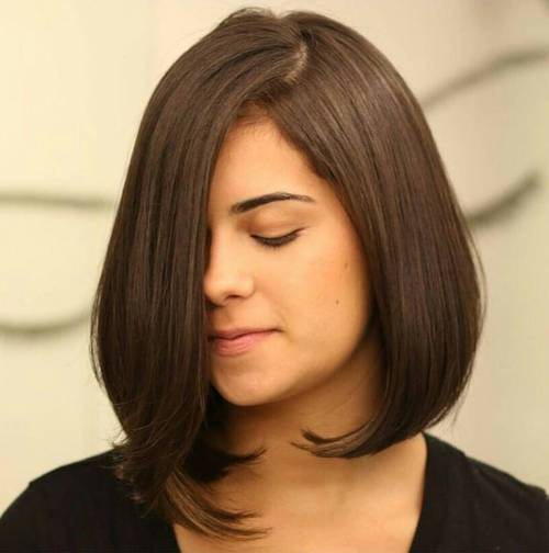 long asymmetrical bob without bangs