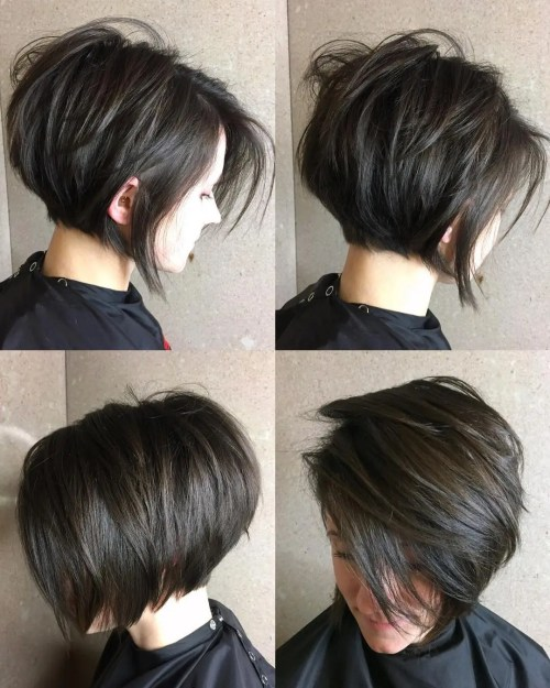 Short Layered Brunette Bob