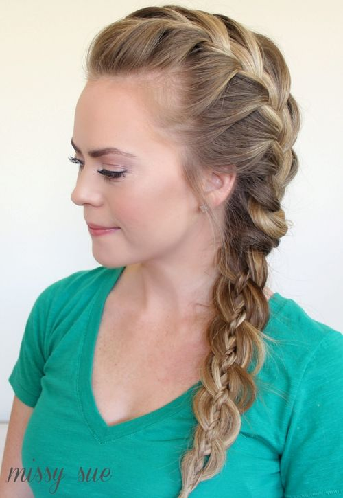 Side 4-strand braid hairstyle
