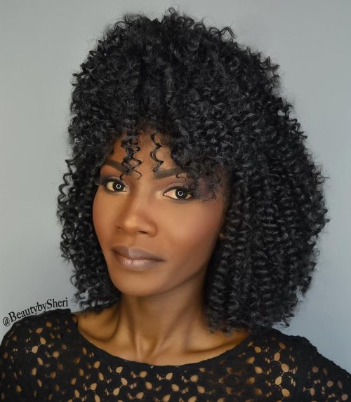 Medium Curly Crochet Hairstyle With Bangs