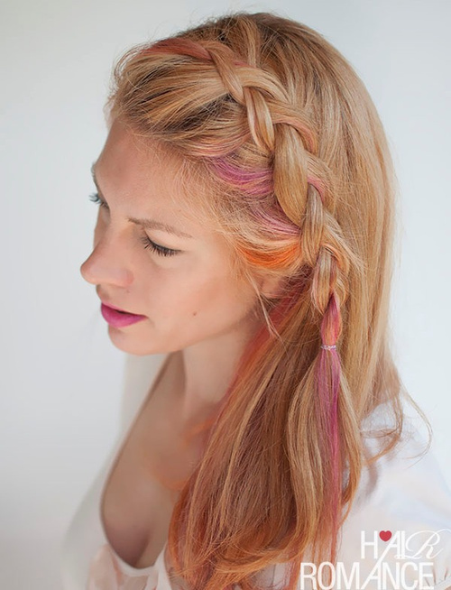 side braided hairstyle with colorful strands