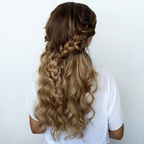 curly braided half updo