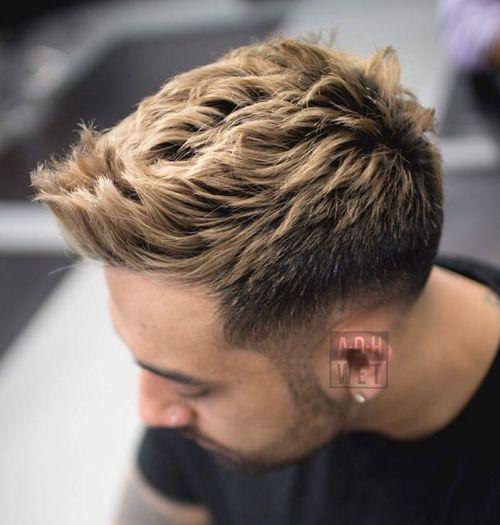Spiky Blonde Taper Cut