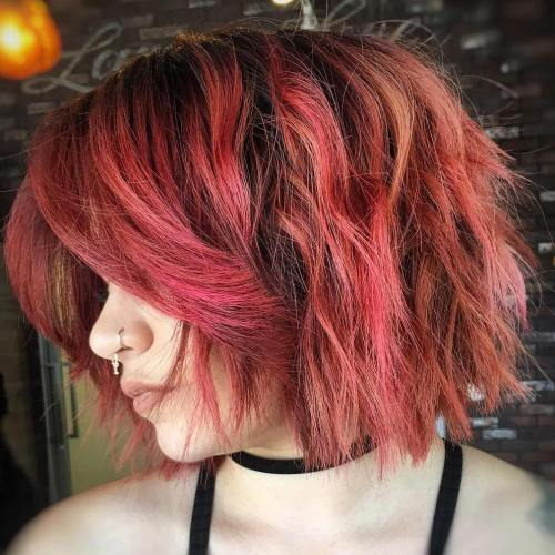 Pastel Red Messy Bob