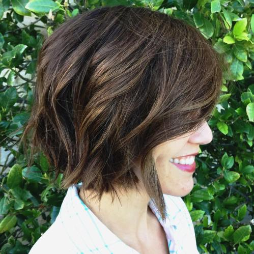 short brown choppy messy bob