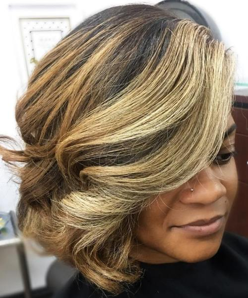Black Medium Side-Swept Balayage Hairstyle
