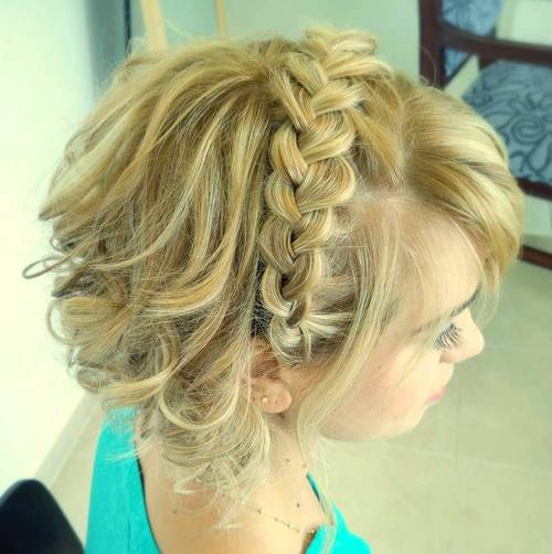 blonde curly updo with headband braid