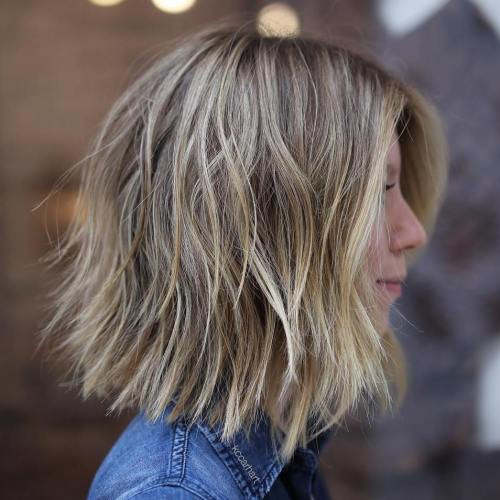 Choppy Layered Brown Blonde Bob