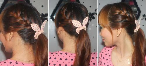 two braids and pony hairstyle for long hair
