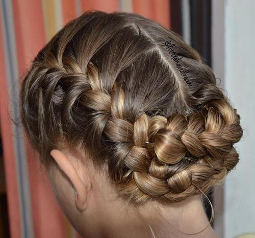 simple updo with french braids