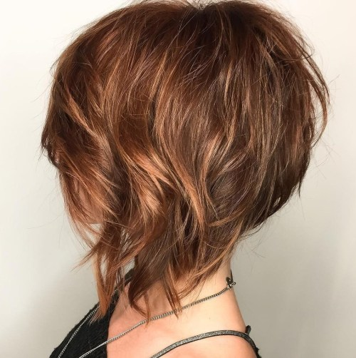 Caramel Brown Layered Inverted Bob
