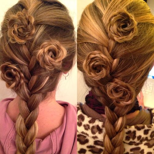 French braid and rosettes