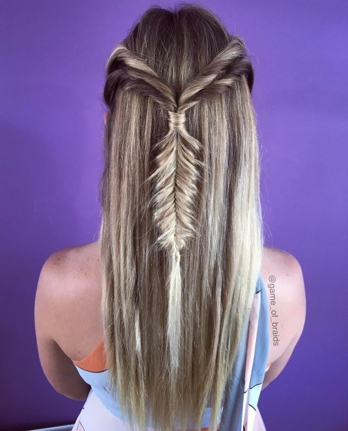Half Updo With Fishtail Braid For Long Hair