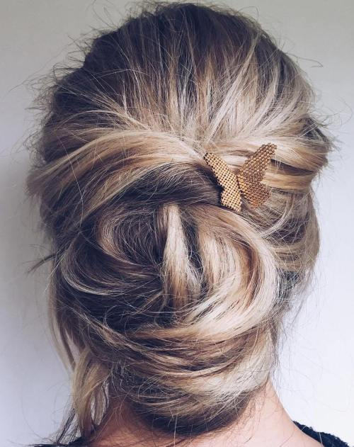 Messy Chignon Updo For Long Hair