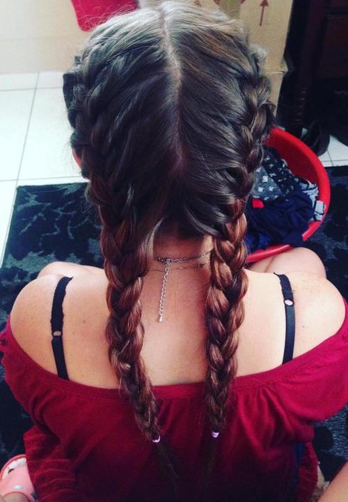 two french braids hairstyle