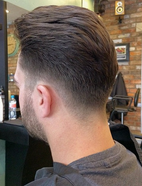 back-swept tapered haircut for men