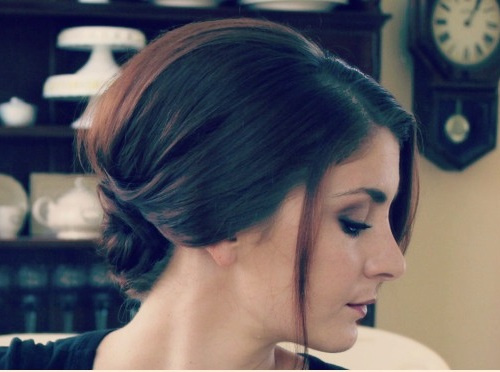 loose elegant updo with a low knot