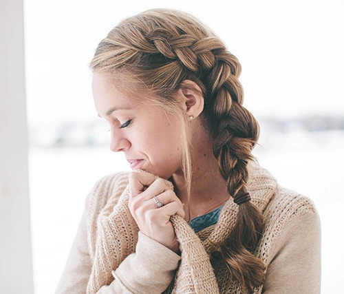 inside out side braid hairstyle for long hair