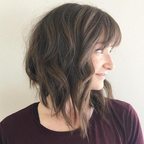 Messy Angled Lob With Bangs