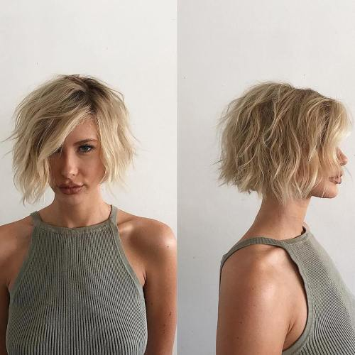 Asymmetrical Wavy Messy Bob
